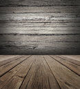 Old wood stage background with vertical natural distressed antique wooden plank floor and horizontal weathered wall as an aged Royalty Free Stock Images