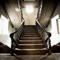 Old wood stairway the beautiful in house Royalty Free Stock Photos