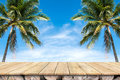 Old wood table top with coconut trees and blue sky background. Royalty Free Stock Photo
