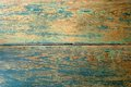 Old wood texture with a blue paint front Royalty Free Stock Photo