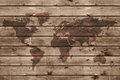 Old wood texture with world map Royalty Free Stock Photo