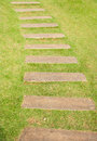 Old wood walkway on the green grass Royalty Free Stock Images