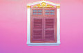 Old wood windows on pink Stock Image