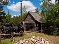 Old woodcutter hut in Wdzydze Kiszewskie Poland Royalty Free Stock Photo