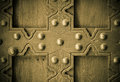 Old wooden background with metal rivets vintage door detail Royalty Free Stock Photo