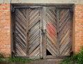 Old wooden barn door. Royalty Free Stock Photo