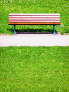 Old wooden bench at a meadow Royalty Free Stock Images