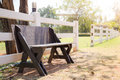 Old wooden bench in park with sunlight Stock Photo