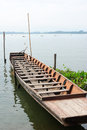 Old wooden boat in the lake Royalty Free Stock Photo