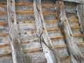 Old wooden boat remains view of side lithuania Stock Photography