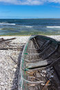 Old wooden boat on the seashore baltic sea fårö island sweden Stock Photography
