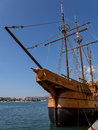 Old wooden boat view of the traditional croatian ship docked in the port of dubrovnik vertical color photo Stock Images