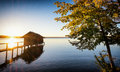 Old wooden boathouse at a lake Stock Photos