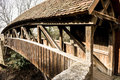 Old wooden bridge rothenburg Stock Photo