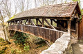 Old wooden bridge rothenburg Royalty Free Stock Images