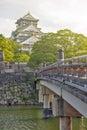 Old wooden bridge to Osaka Castle, Japan most famous historic landmark in Osaka City, Japan Royalty Free Stock Photo