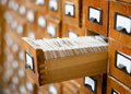 Old wooden card catalogue Stock Images