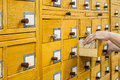 Old wooden card catalogue in library. Royalty Free Stock Photo