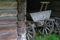 Old wooden cart in coach-house Royalty Free Stock Photo