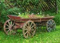Old wooden cart with flowers Royalty Free Stock Photo