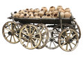 Old wooden cart full of clay pottery and wheels isolated over wh white background Stock Photo