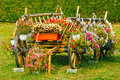 Old wooden cart overflowing with red flowers retro in a beautiful garden Royalty Free Stock Photo