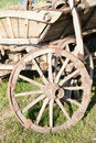Old wooden cart with wheel closeup of Royalty Free Stock Photo