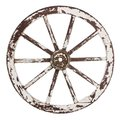 Old wooden cart wheel white paint over white background Stock Images