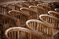 Old wooden chairs in the theater close up Royalty Free Stock Images