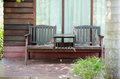 Old wooden chalet with decoration
