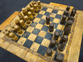 Old wooden chessboard Stock Photography