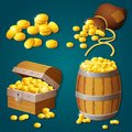 Old wooden chest, barrel, old bag with gold coins. Game style treasure vector illustration. Royalty Free Stock Photo