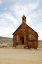 Old wooden church in Bodie ghost town Royalty Free Stock Photo