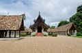 Old wooden church of chiangmai thailand the valuable ancient woodcraft building Stock Images