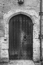 Old wooden church door Stock Photo