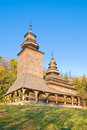 Old wooden church in pirogovo ukraine Stock Photography