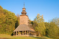 Old wooden church in pirogovo ukraine Royalty Free Stock Photo