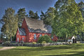 Old wooden church in sweden from the s in hdr swedish ramna is placed open air museum ramna park northern part near boras museum Royalty Free Stock Images