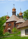 Old wooden Church. Ukraine Pirogovo Royalty Free Stock Photography