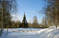 Old wooden church winter in country season Stock Images