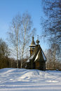 Old wooden church winter in country season Stock Photo