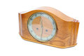 Old wooden clock white background Royalty Free Stock Photo