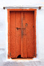 Old closed wooden door