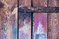 The old wooden colored shutter detail of doors by children Stock Images