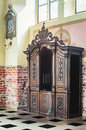 Old wooden confessional Royalty Free Stock Photo
