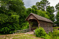 Old wooden covered bridge in alabama state city of troy Royalty Free Stock Photos