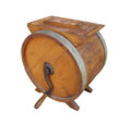 Old wooden crank butter churn isolated Royalty Free Stock Photo
