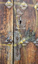 Old wooden door ancient in a spanish village Stock Photos