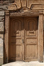 Old wooden door an brown Stock Photo