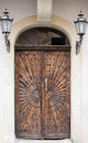 Old wooden door brown relief Stock Image